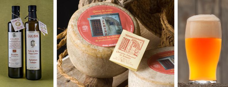 Imagen de queso, cerveza y aceite artesanos