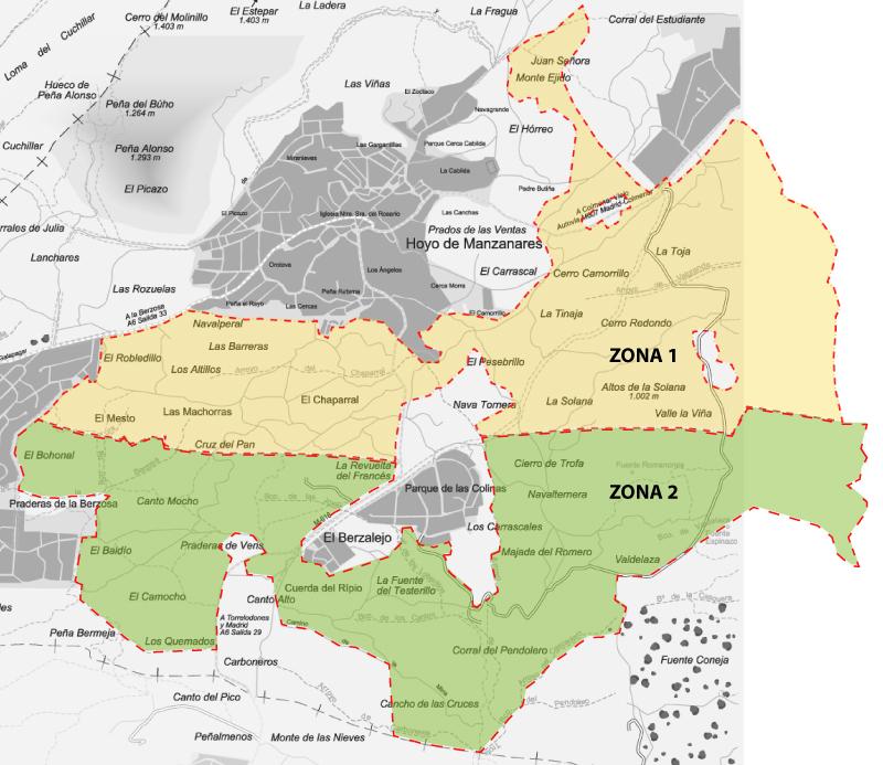 mapa de zonas autorización de monterías